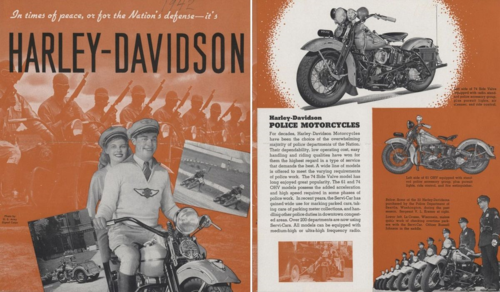 This 1942 Harley-Davidson brochure, saved in the curatorial file for Ubico's motorcycle, emphasizes the company's role in military and law enforcement
