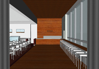 Artist's rendering of the Constitution Cafe with its fabulous view of Constitution Avenue on the right