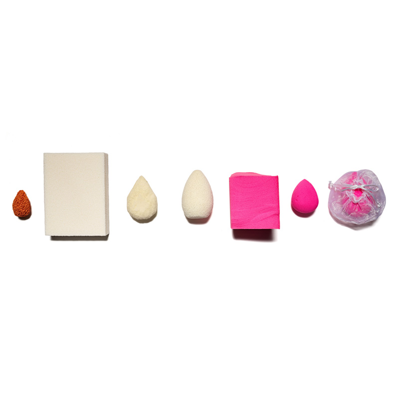 Sponges of diverse shapes and colors arranged in a line