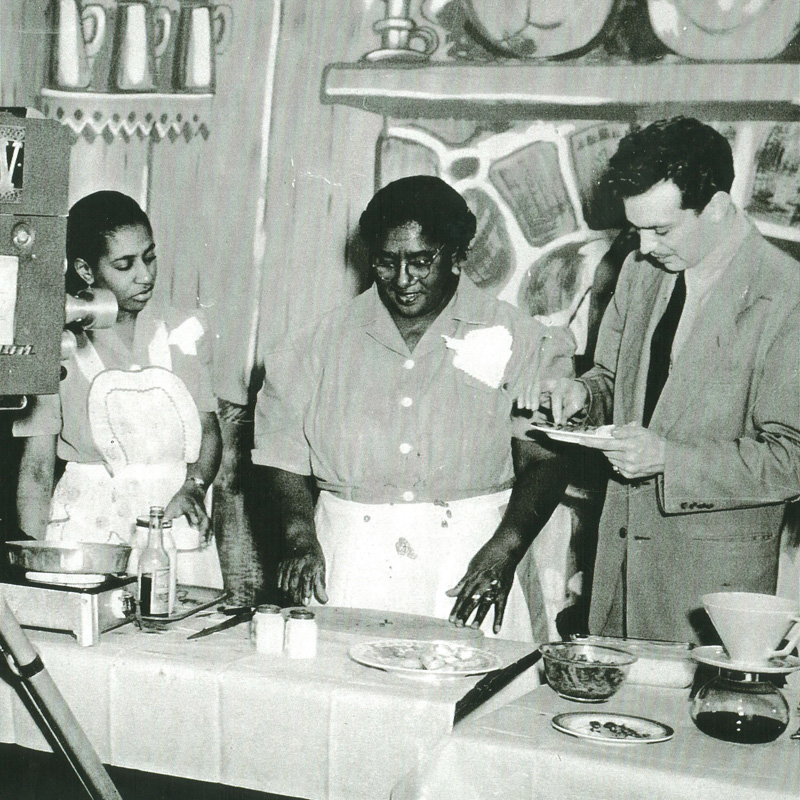 Chef Lena Richard and others filming a television segment