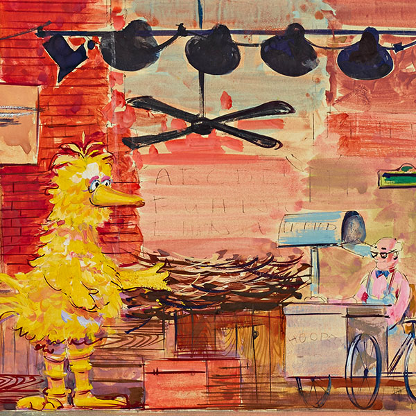 """Sketch of the set for the National Museum of History and Technology exhibit """"Ten Years of Sesame Street"""" (1979) painted by Alan Compton, Sesame Street set designer"""