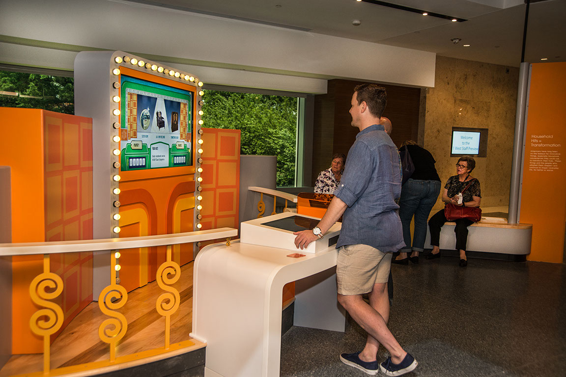 """Visitors playing """"The Price is Right"""" at the museum"""