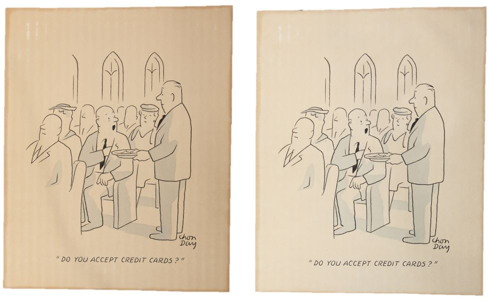 Cartoon before and after (left to right) conservation treatment.