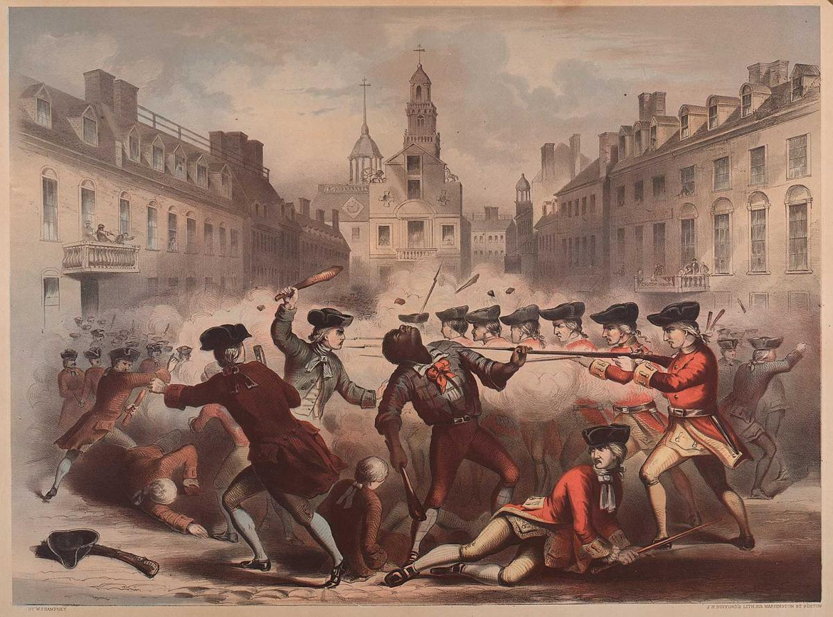 An illustration of an altercation between soldiers and colonists, including an African American man being violently attacked at the center.