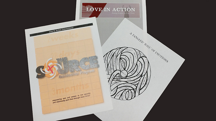 "Photo of three different paper workbooks or handouts from Love in Action. One says ""residential program, 3 months"" and ""empowering men and women to live sexually and relationally pure lives through Jesus Christ!"" Another shows a cartoon drawing of a tangl"