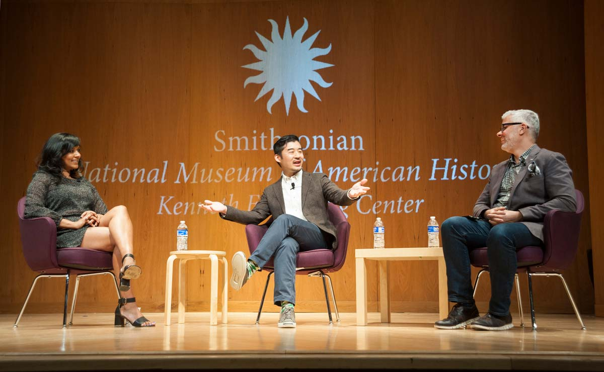 Three participants at a panel discussion during Food History Weekend