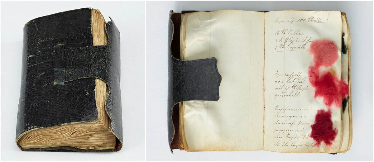 Two images, one of a book that is as closed as it can be since its pages are jam packed. The other is an open book with dyed thread and handwriting.