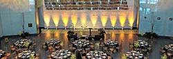 tables set for an event in Flag Hall