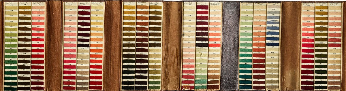 Vibrant dyed threads in an excerpt of Emmerling's color card.