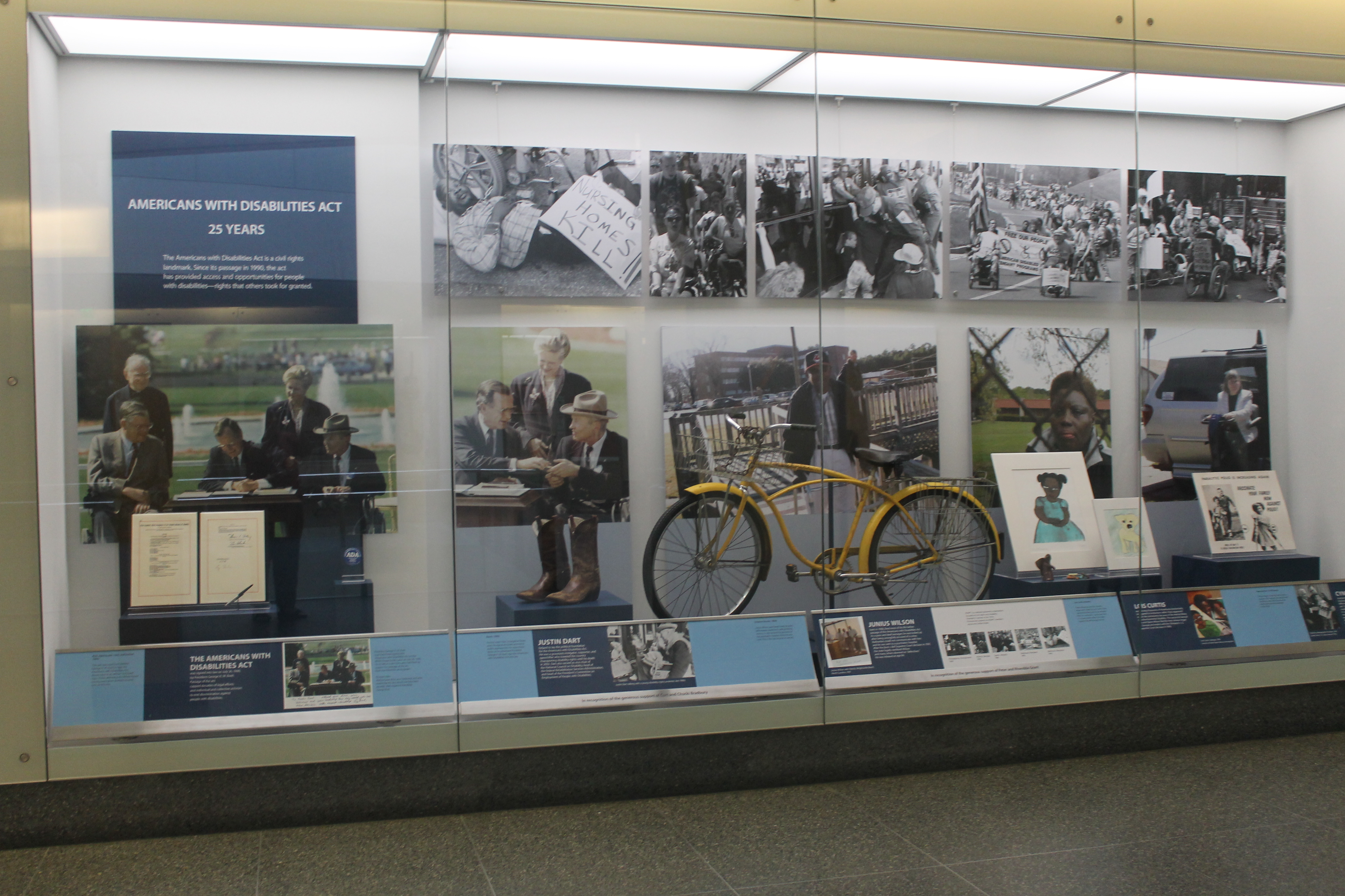 """The Americans with Disabilities Act, 1990-2015"" artifact wall, showing large graphics of the signing of the law by Pres. Bush, a yellow bike, and other artifacts behind glass on display in a shallow, tall case"