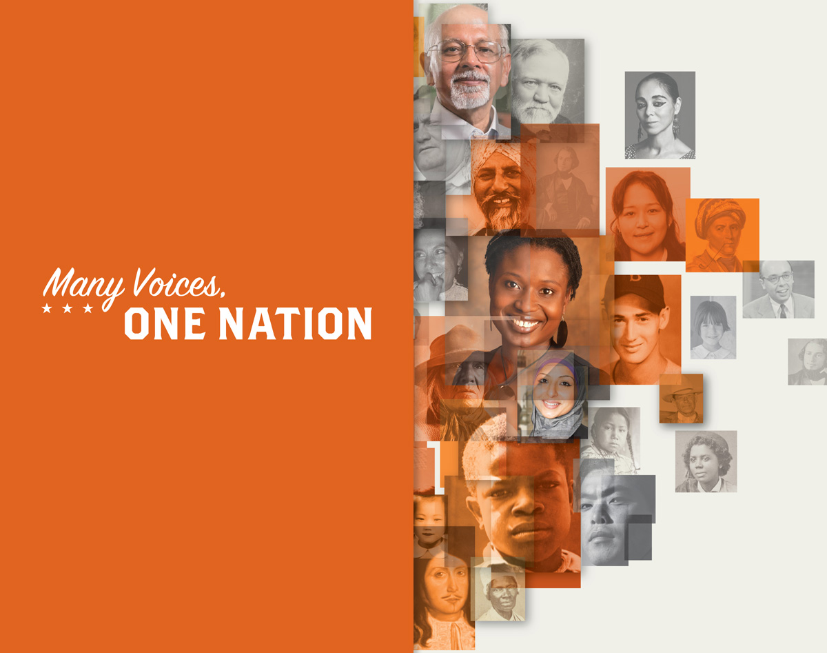 "Photo-montage of various faces. On the left side of the image, text reads ""Many Voices, One Nation."""