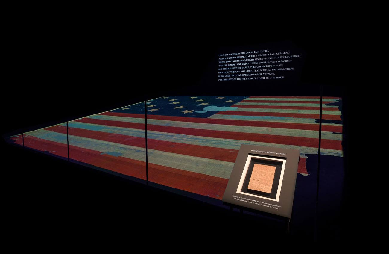 The Star-Spangled Banner on display with Francis Scott Key's original manuscript