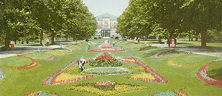 Detail of postcard depicting the Sunken Gardens in Philadelphia's Fairmount Park