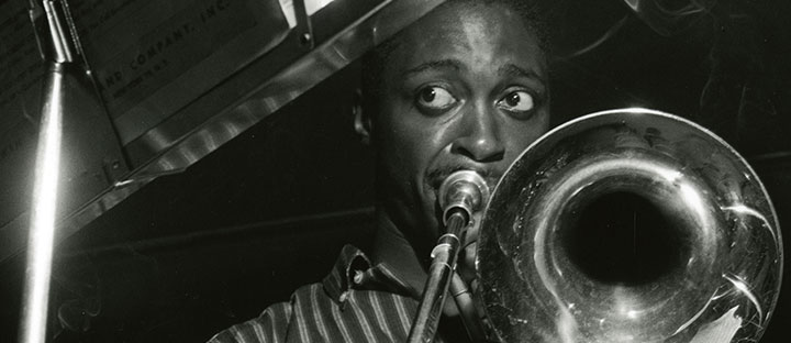 "Silver gelatin photographic print by Francis Wolff.  ""The Opener,"" Curtis Fuller at recording session with Mobley, Timmons, Chambers, Taylor, 16 June 1957. Francis Wolff Jazz Photoprints. (AC1238-0000010)"