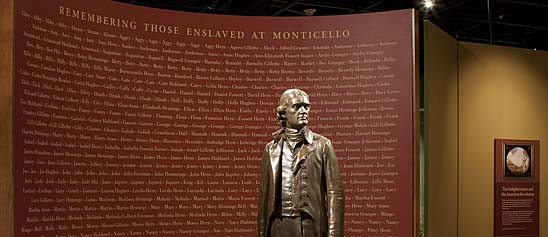 Thomas Jefferson statue with names of slaves