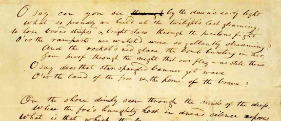 Francis Scott Key's original manuscript of the Star-Spangled Banner (Courtesy of The Maryland Historical Society)