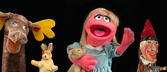 Mr. Moose and Bunny Rabbit, Punch & Judy, and Prarie Dawn puppet from Puppetry in America