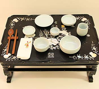 Korean tray with place setting