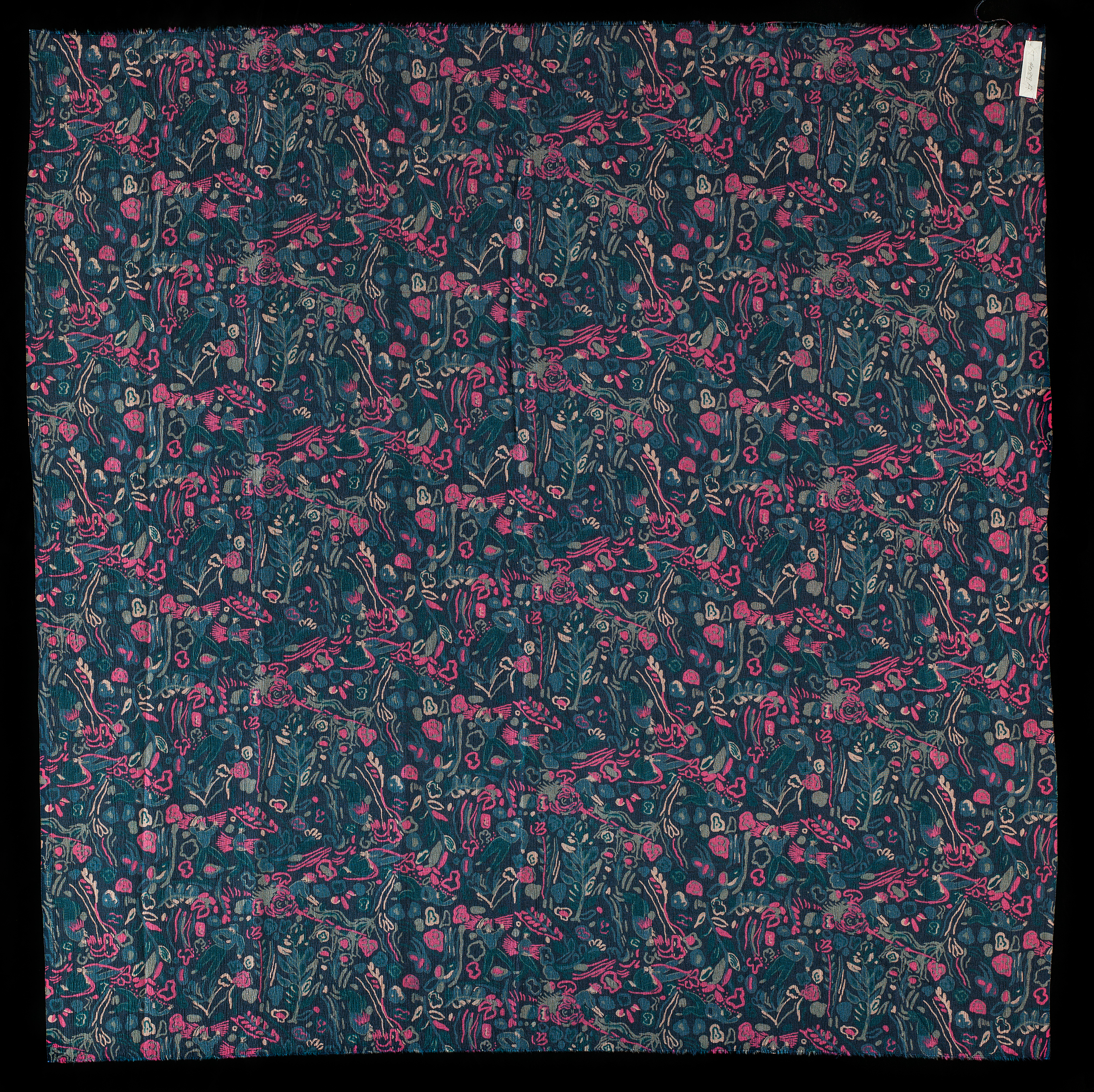 Photo of fabric. Navy blue background with small figures in lighter blue a6113f8c9b62d