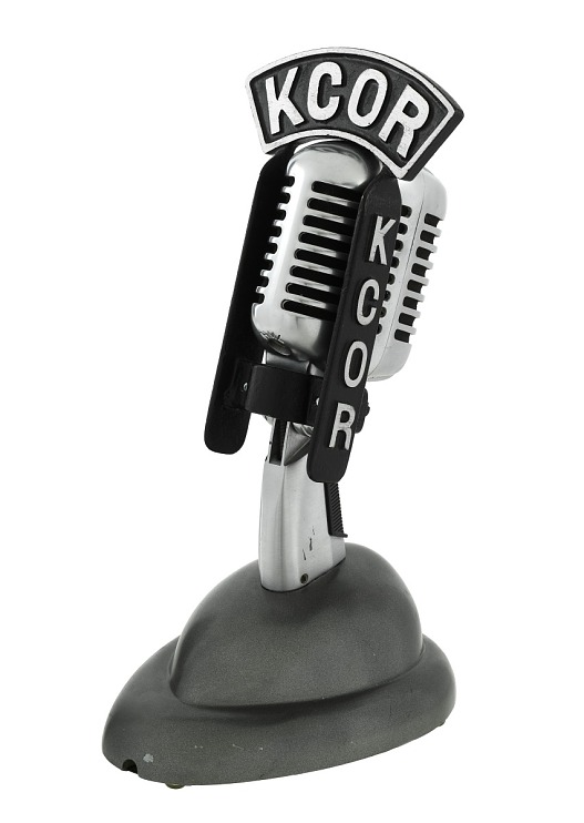 Silver microphone on stand