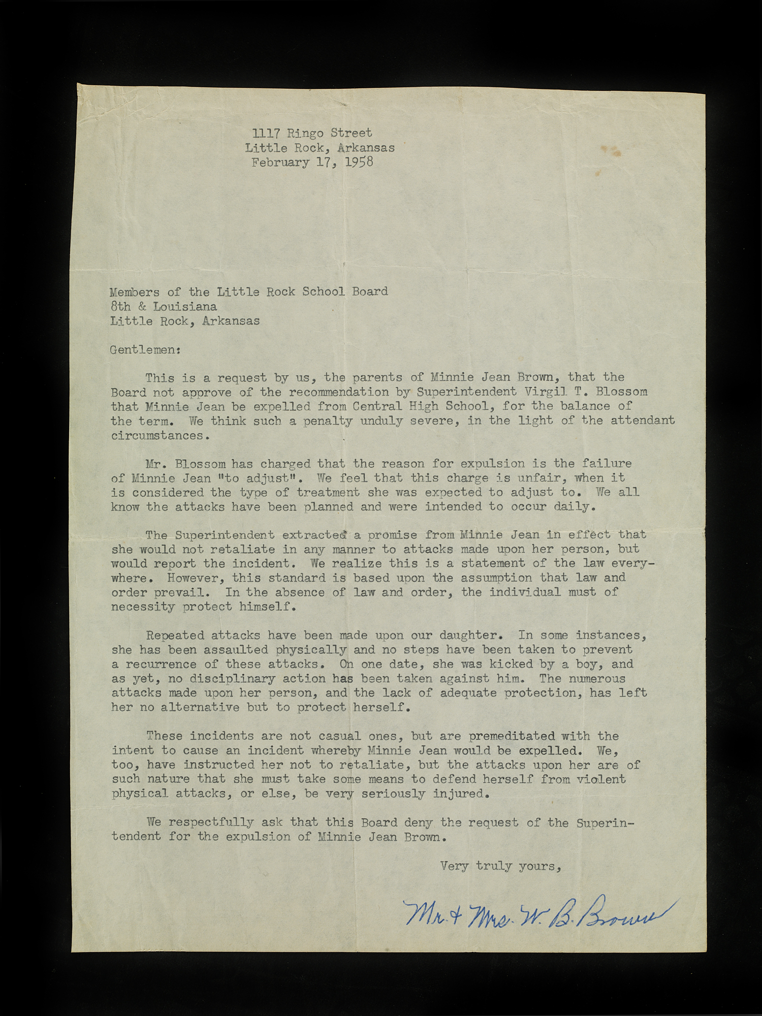 Letter To The Little Rock School Board From Mr And Mrs W B Brown Dated February 17 1958