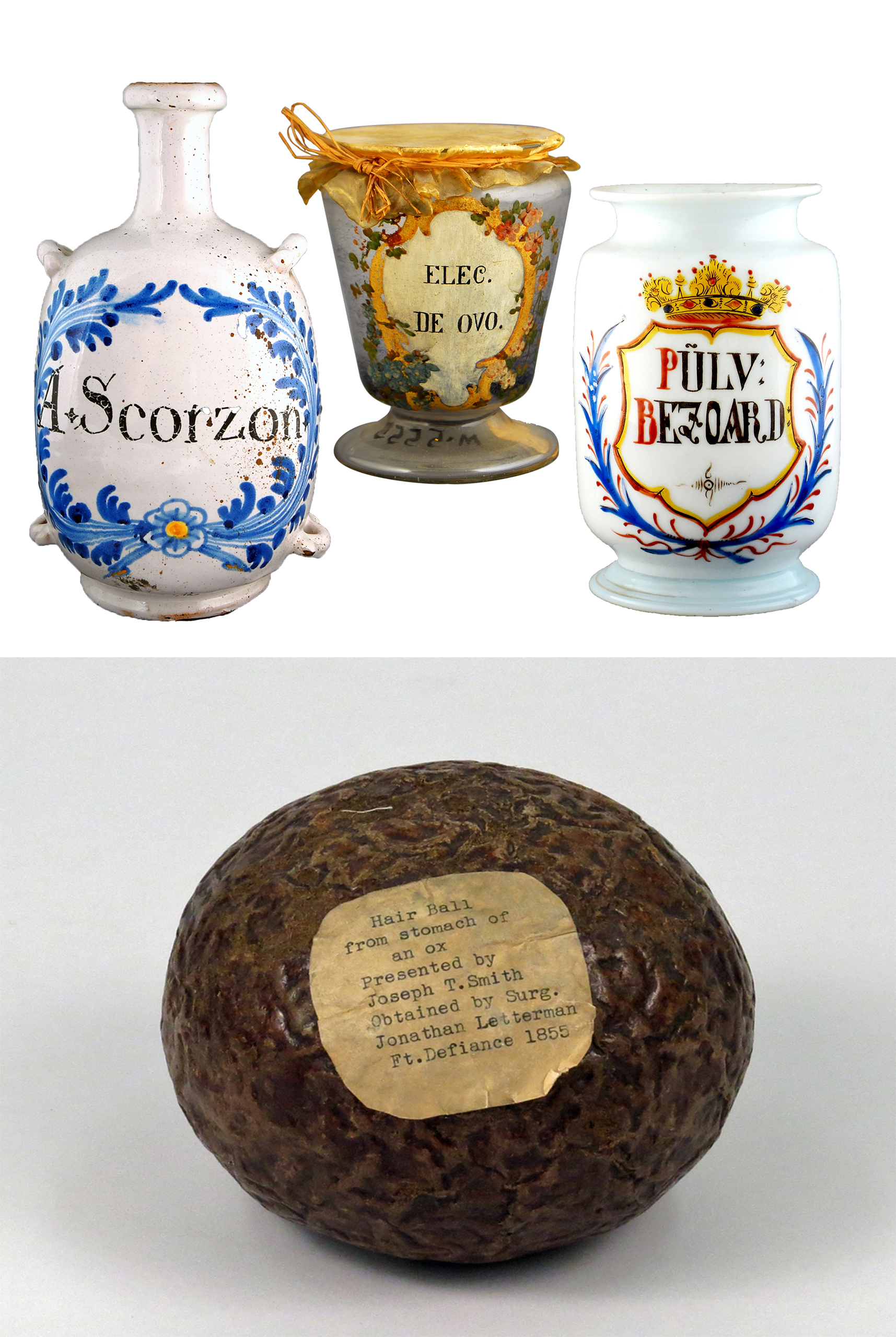 65bf4e96a41 Four objects  three are wide jars with painted decoration with words in a  different language