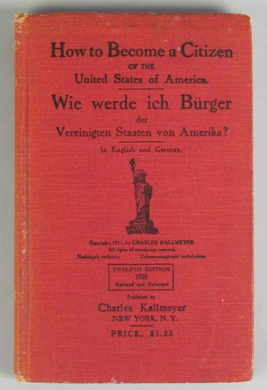 Book titled 'How to Become a Citizen of the United States of America' in English and German