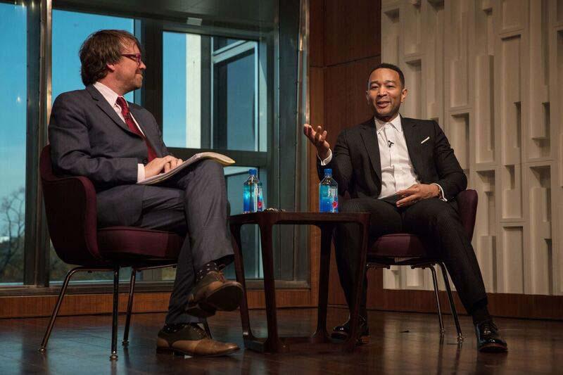 Curator John Troutman interviewing John Legend