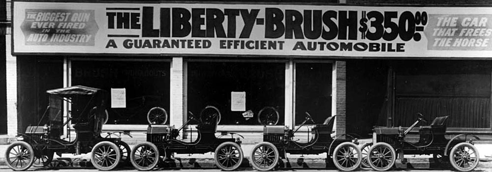 Four Models Of The Liberty Brush Automobile Lined Up Outside A Dealership