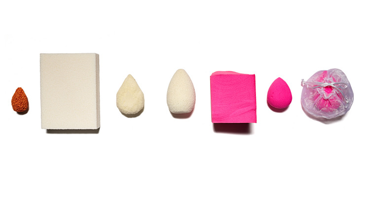 Series of pink and white carved sponges