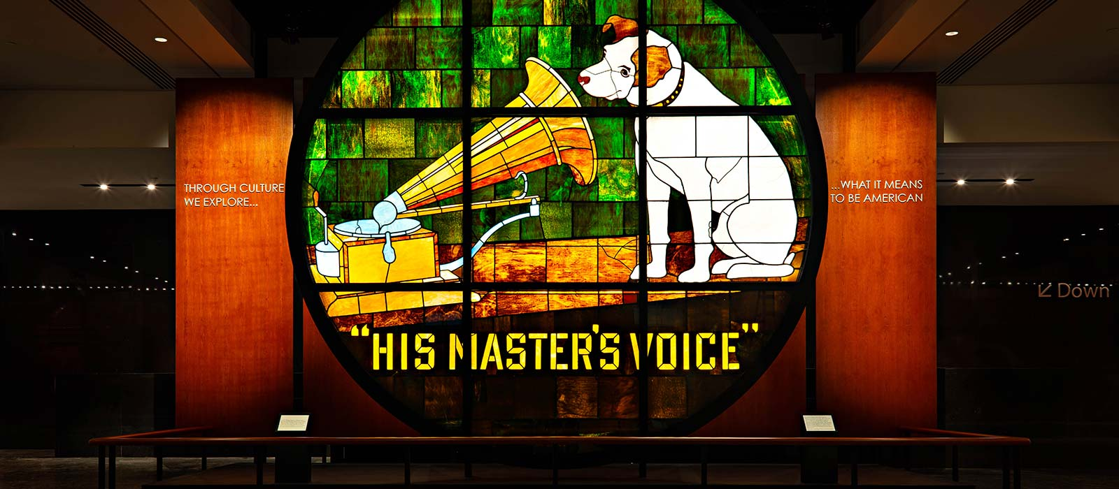 Stained-glass window of RCA's 'his master's voice' logo
