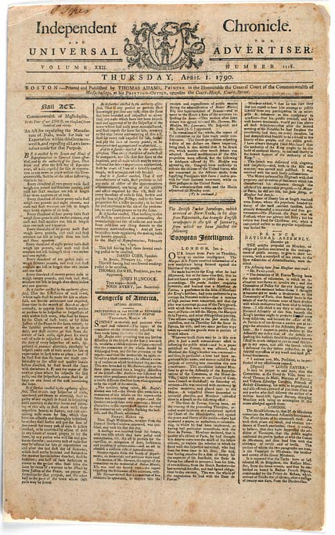Newspaper titled Independent Chronicle