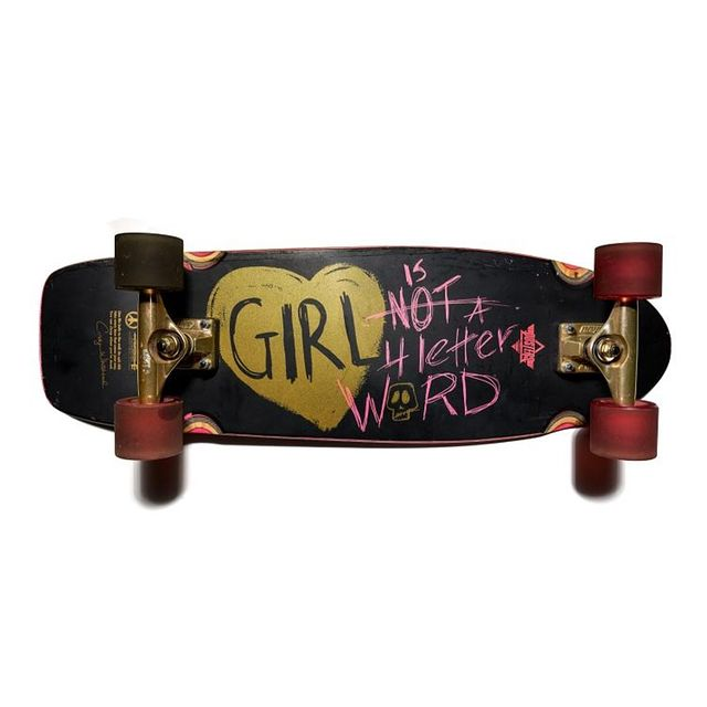 """This is the second iteration of the prototype skateboard designed by professional skater Cindy Whitehead and manufactured by Dwindle Distribution in 2015. Whitehead used her skate background to create the """"Girl Is Not A 4 Letter Word"""" brand which includes Cindy's original art work. Whitehead began skateboarding at age 15 and had turned pro by the time she was 17, something girls were not doing in the mid-1970s. She became one of the only girls skating both pool and half pipe and is the only girl ever to be featured in a two page article with a centerfold in a skateboarding magazine. Whitehead retired from skateboarding at 22 but still skates and has remained in the sports arena as a sport stylist, a job title she also created. Whitehead is especially supportive of young female skaters through her """"Girl Is Not A 4 Letter Word"""" skate team and her products which are geared towards women and girls.   As part of this year's National Youth Summit, Whitehead will serve as a guest speaker as we examine issues of gender, bias, and equity through the lens of history. You can join our summit online for free. Register here: s.si.edu/nys  The National Youth Summit is made possible in part by support from the Smithsonian American Women's History Initiative.  This object is currently on display in our exhibition, Girlhood: It's complicated.  Girlhood: It's complicated received support from the Smithsonian American Women's History Initiative  #AmericanHistory #WomensHistory #BecauseOfHerStory #YouthHistory #Girlhood #GirlhoodHistory #NationalYouthSummit"""