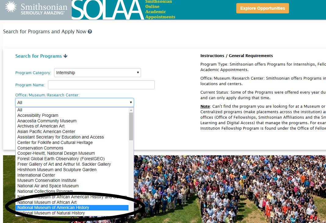 Screenshot of the SOLAA portal.