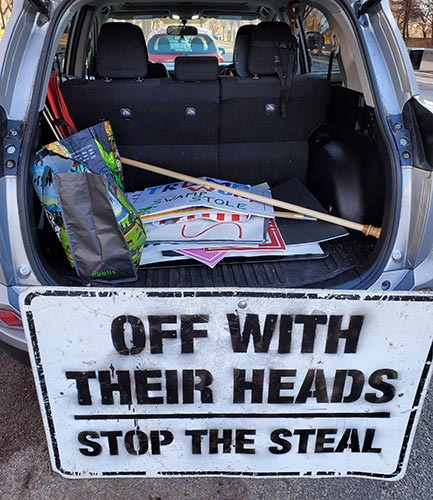 Protest ephemera in the trunk of a car