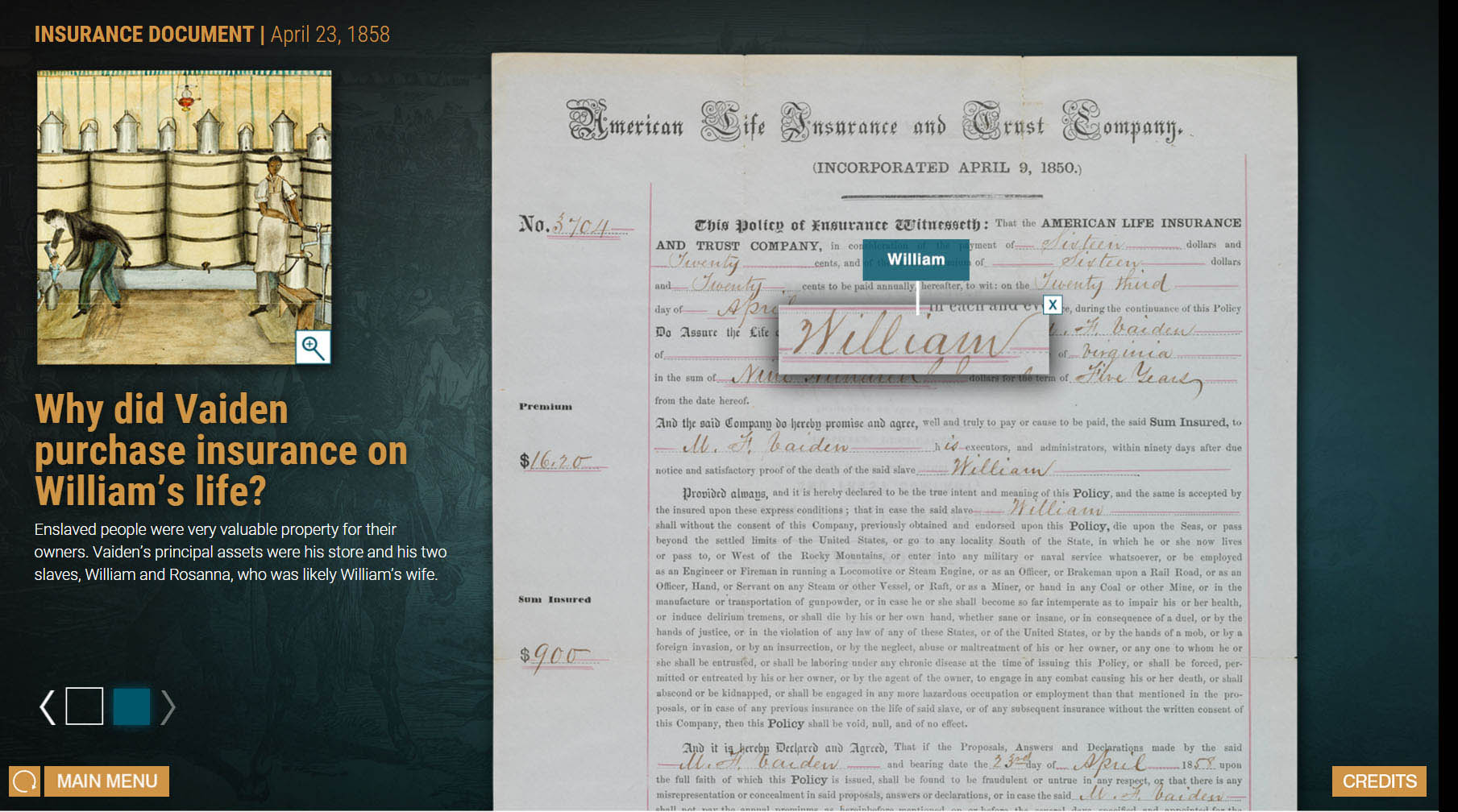 Screenshot of the Business of Slavery interactive.