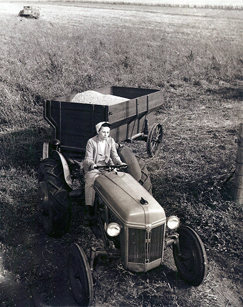 A black and white photograph of a woman driving a tractor.