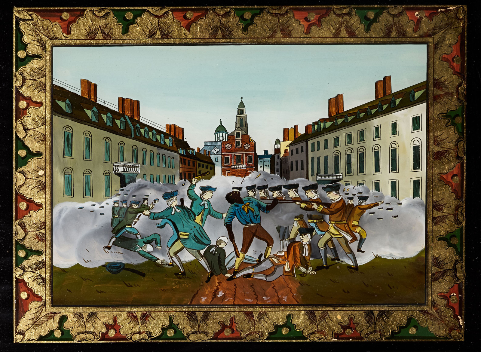 A close up of a painting about the Boston Massacre. An African American man is at the center.
