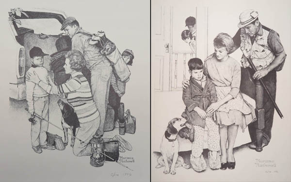Two illustrations, one showing a family packing for a fishing trip where the mother bends down to check the son's glands. The next shows the parents comforting a sick son, the fishing trip cancelled due to mumps.