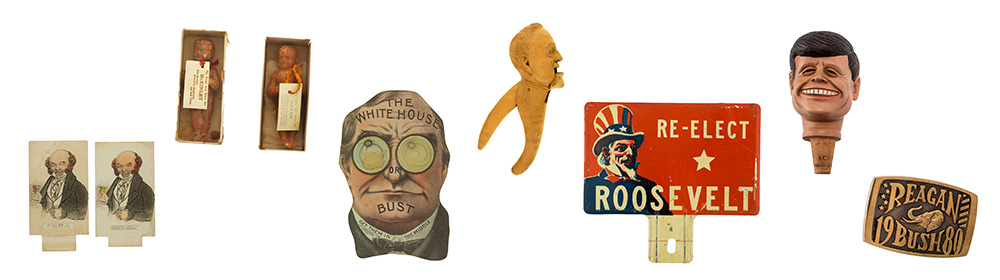 A series of pull cards, soap sculptures, nutcrackers, signs, belt buckles, and other objects created to promote or oppose various U.S. presidential candidates