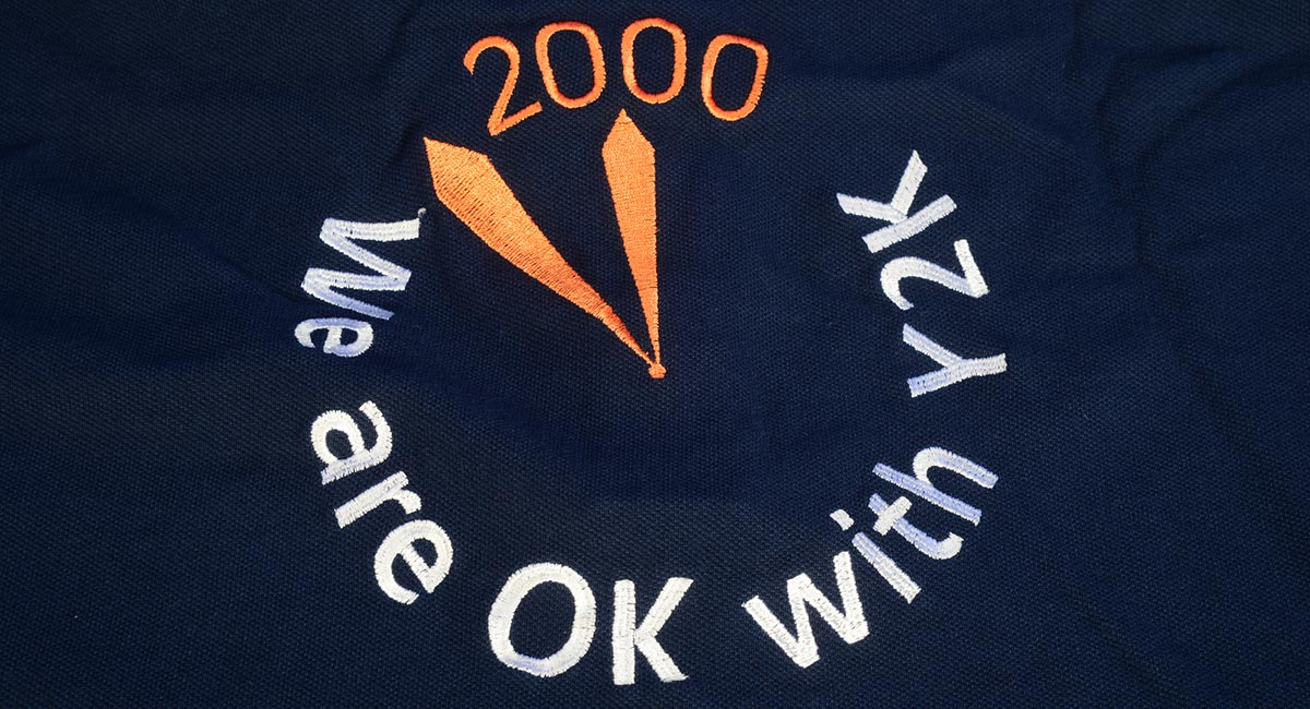 We are OK with Y2K polo shirt logo
