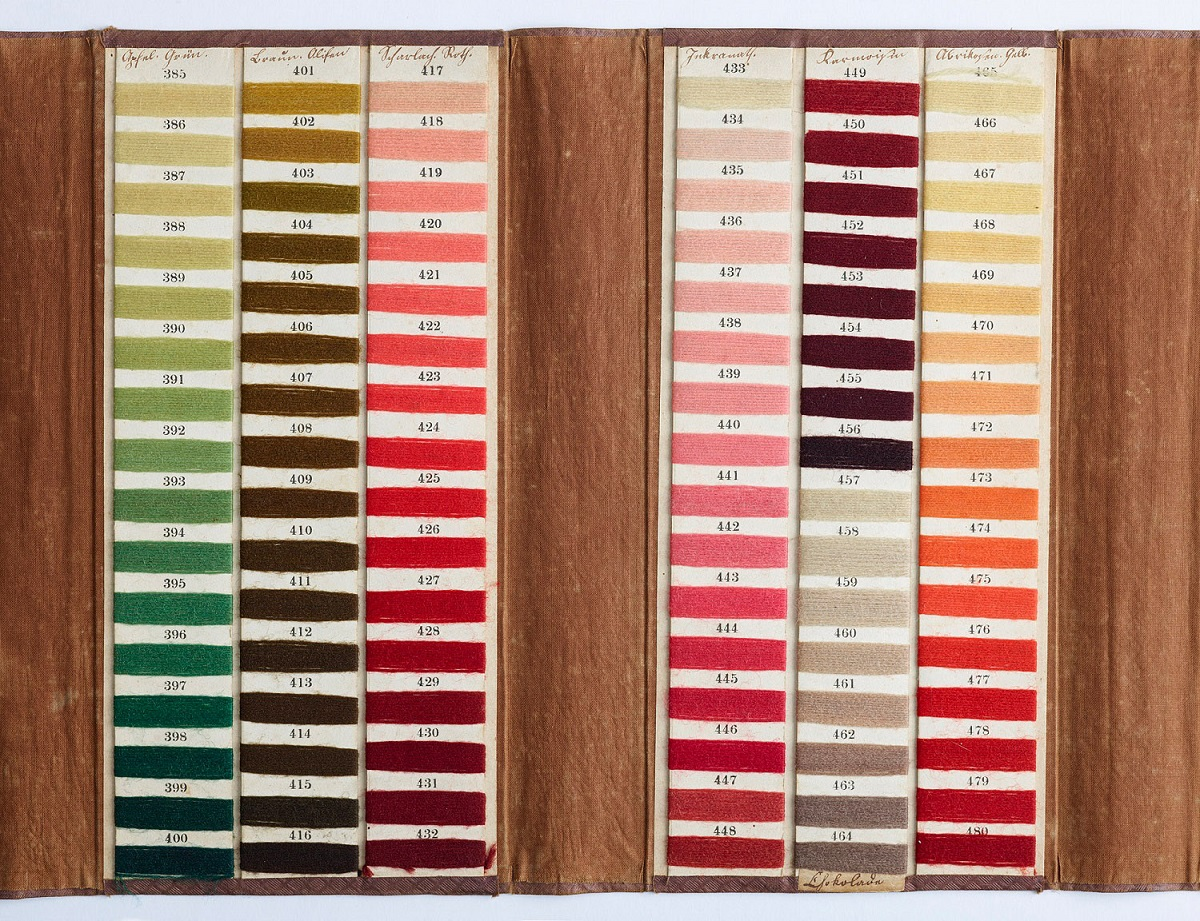 An excerpt of Emmerling's color card with vibrant pinks on it.