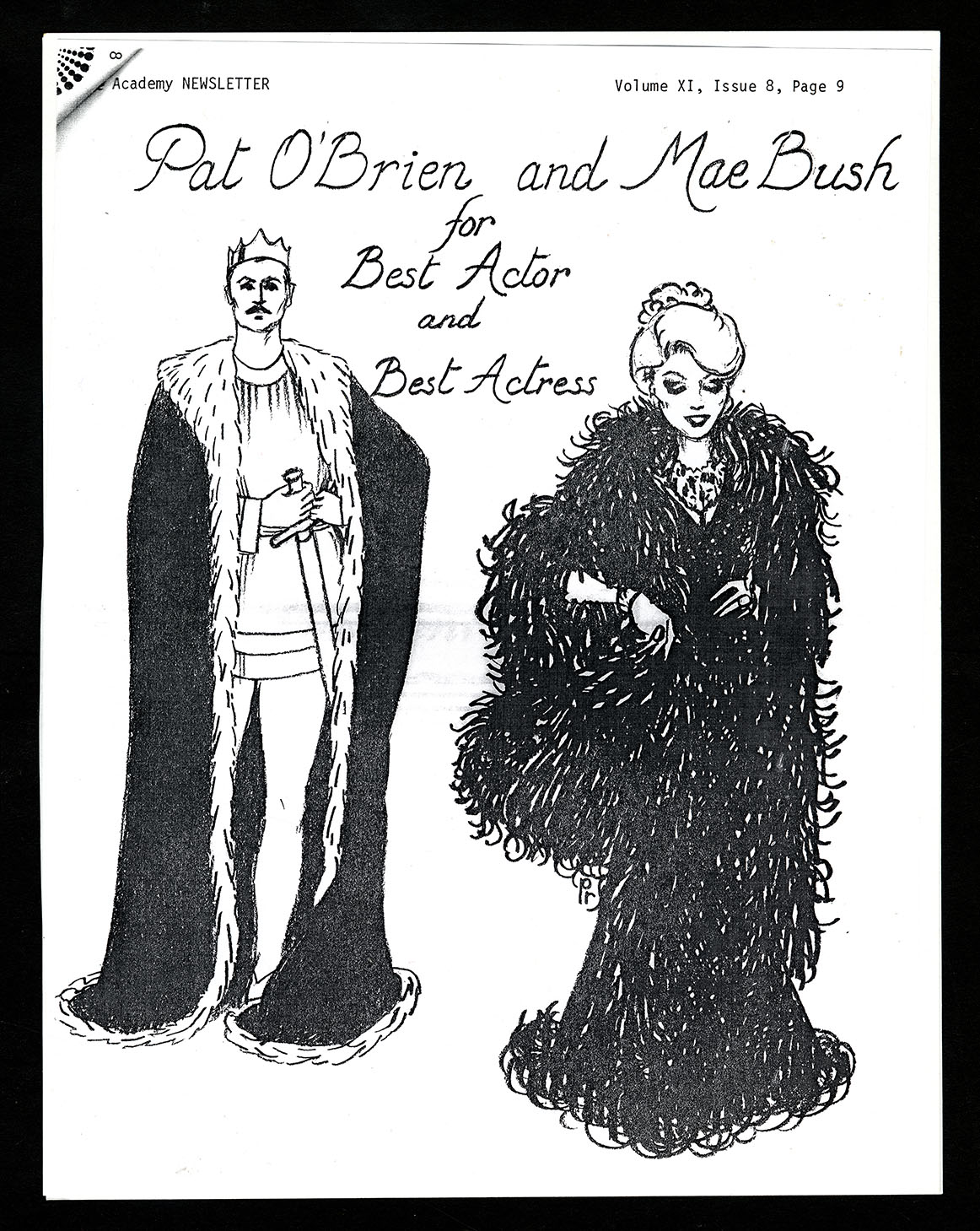 An illustrated poster with a woman in a fancy black coat and a man in a cape and crown