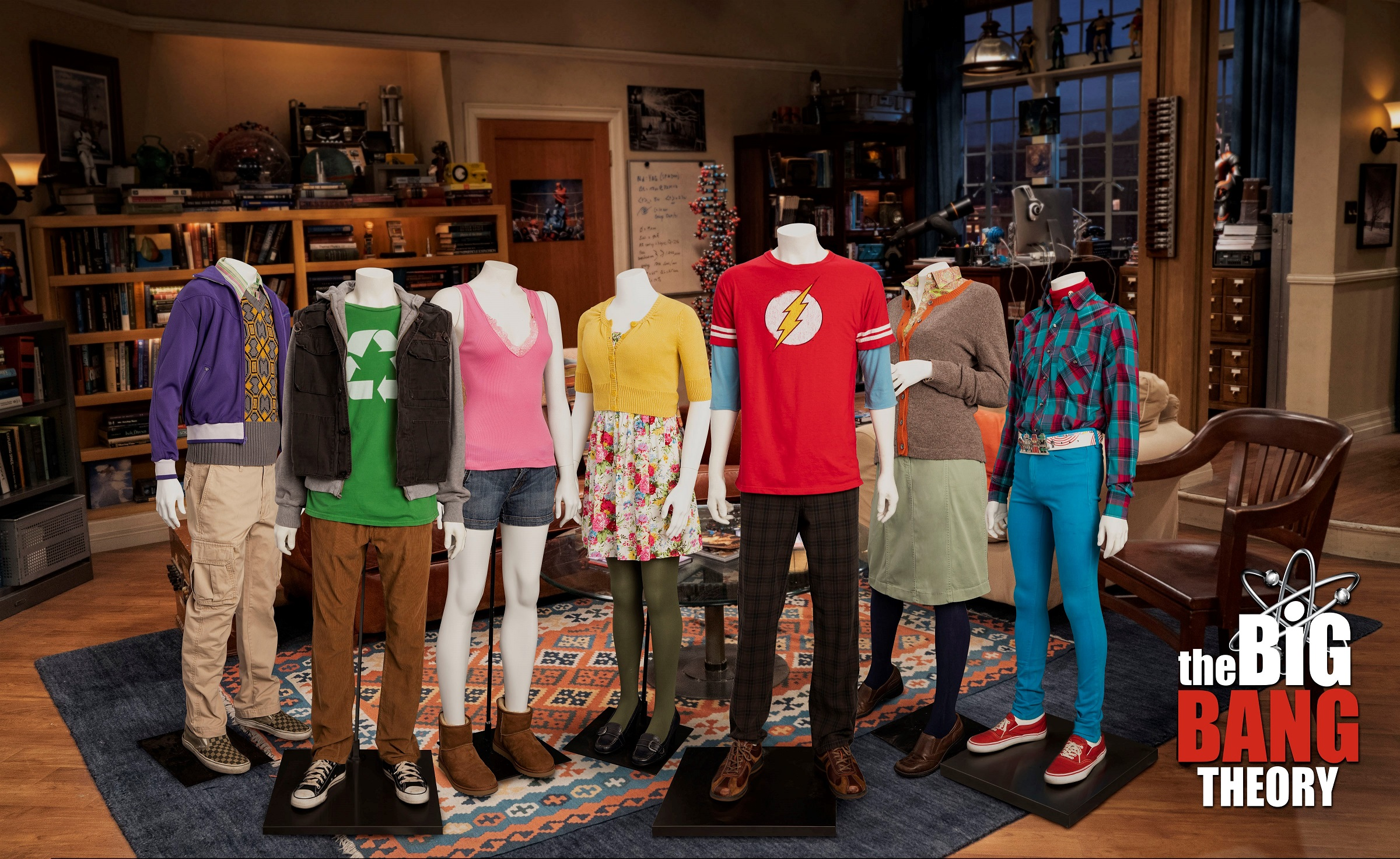 Mannequins wearing costumes/streetwear on a television set