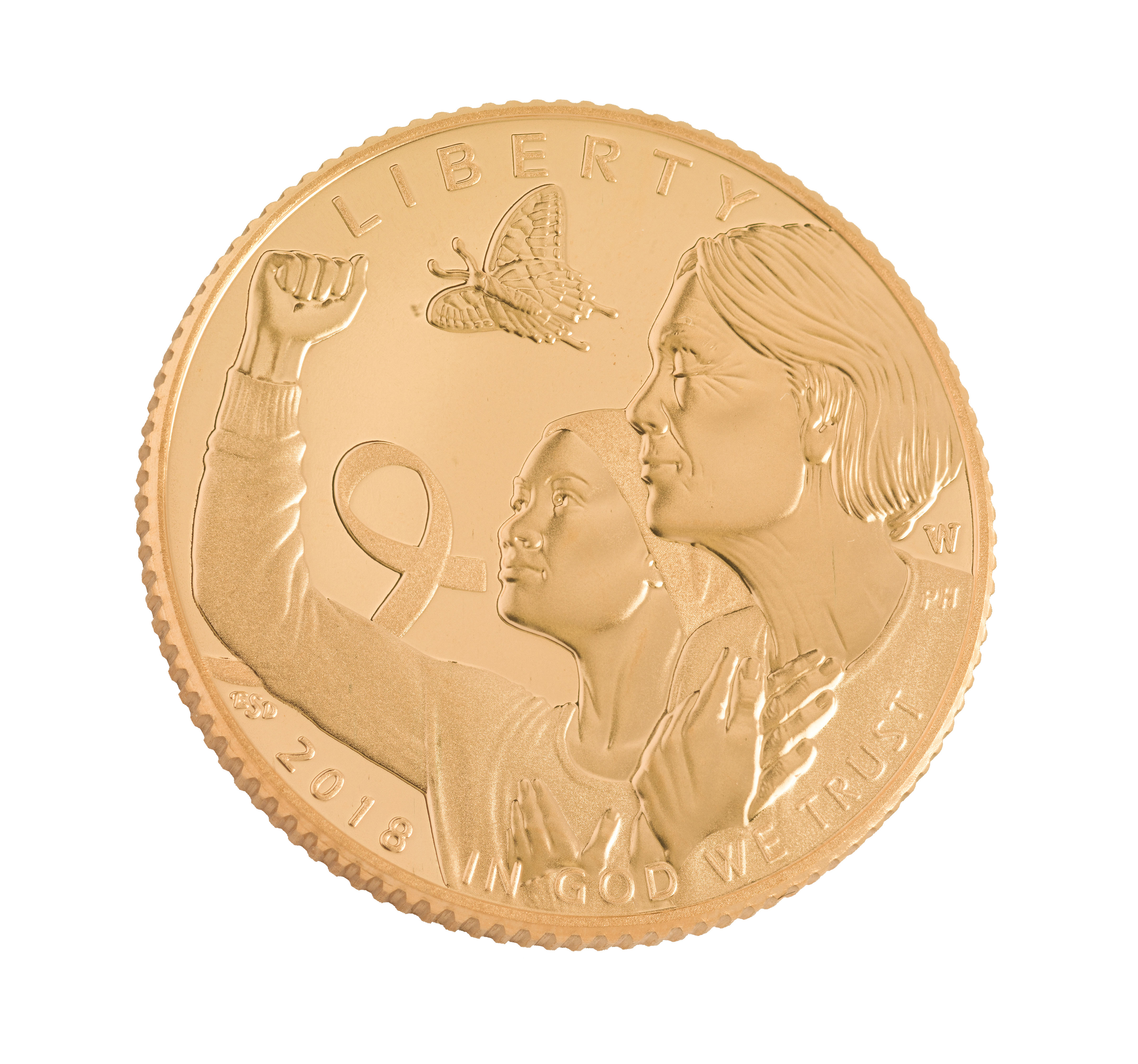 A golden coin with a woman and ribbon on it