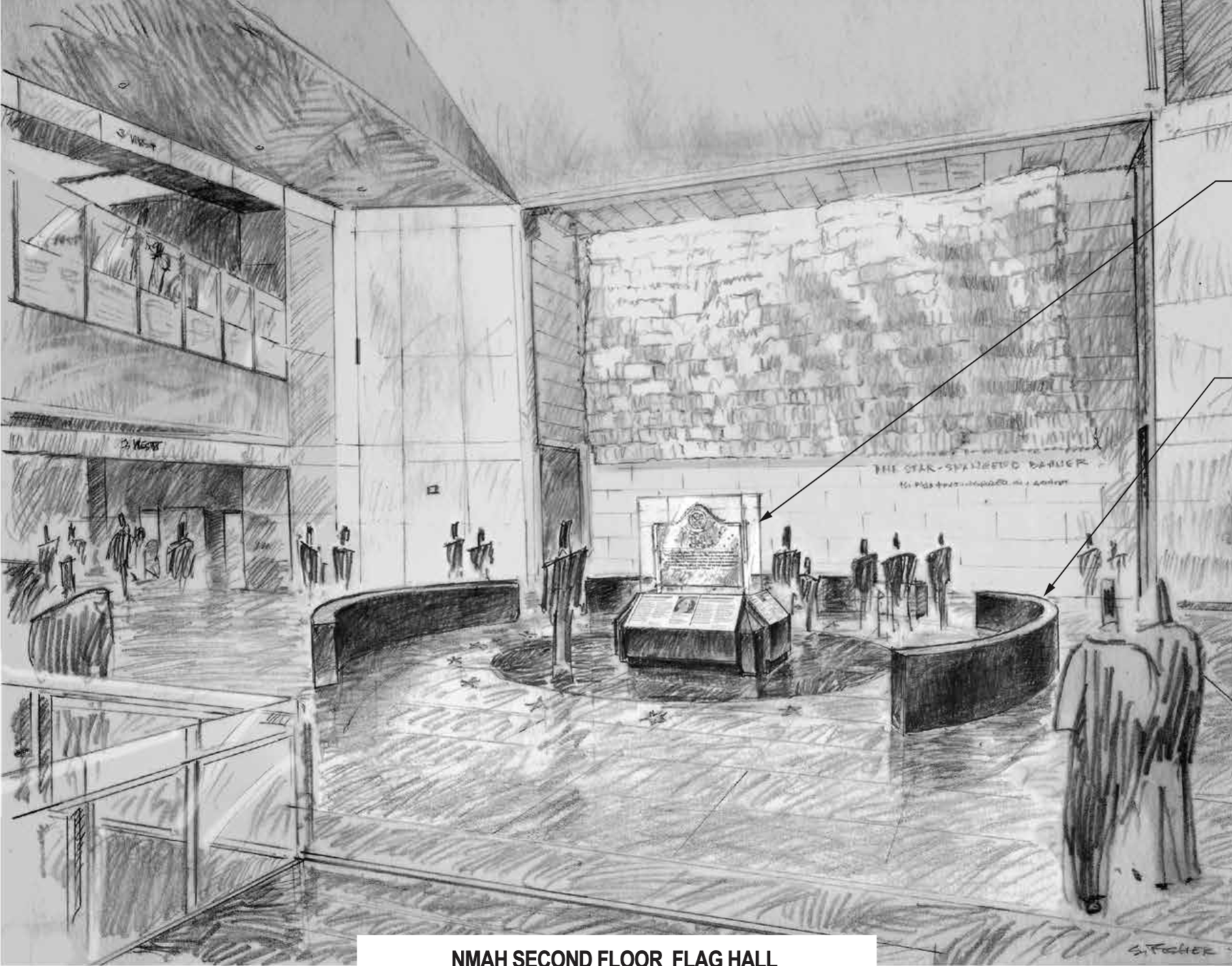 A sketch rendering of a large hall with a sign encased in glass in its center
