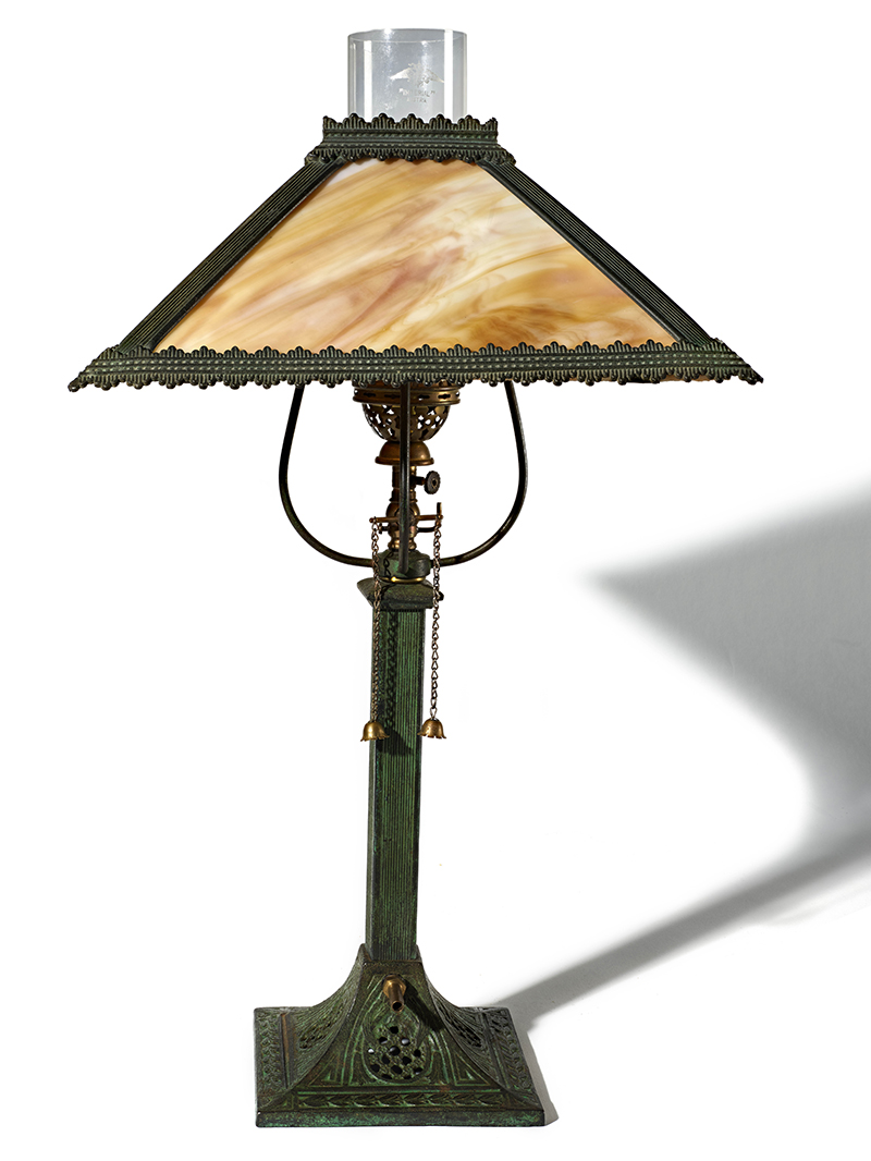 A lamp with a shade