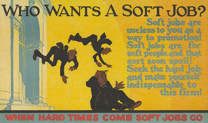 A yellow poster with men depicted falling and text