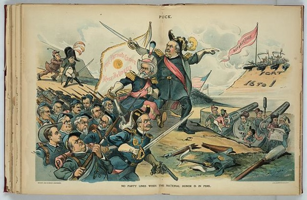 "Print shows the combined forces of the gold standard supporters, including some newspaper editors, and a reluctant William McKinley. They are marching under the standard ""The Nation's Credit Must Be Upheld"", toward a fort labeled ""Fort 16 to 1"" flying the banner ""Repudiation"", and manned by soldiers armed with pitchforks and scythes. The newspaper editors are staffing the big guns labeled ""Sound Money Press""."