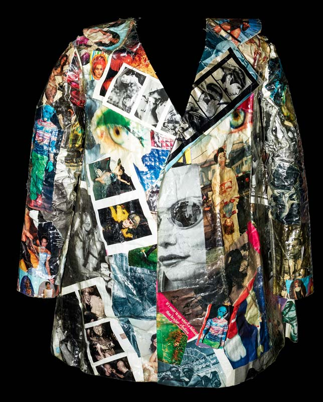 Jacket with colorful design featuring many printed photos and graphics